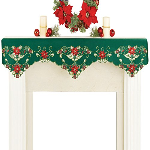 Collections Etc Christmas Green Mantel Scarf Poinsettia