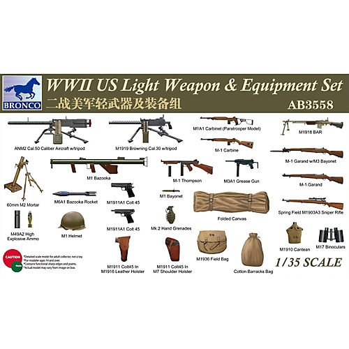 Bronco WWII US Light Weapons & Equipment Set 1:35 Scale Military Model Kit by Bronco
