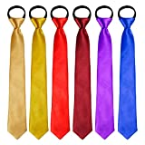 Coobey 6 Pack Boys' Satin Zipper Neck Tie Pre-tied Adjustable Neck Strap Tie (15 Inch, Multi color set)