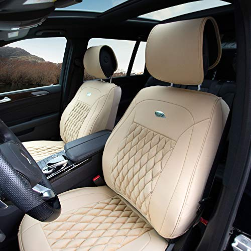 (FH Group PU204102 Victorian Style Luxurious Leatherette Cushion Pad Seat Covers, Beige Color- Fit Most Car, Truck, SUV, or Van)