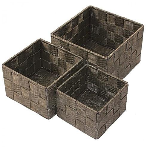 Aufbewahrungsbox 3er Set QUADRATISCH geflochten Korb Box ...