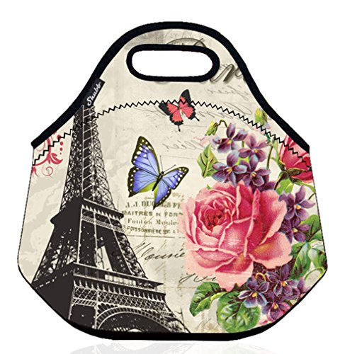 Shubb Lunch Bags, Insulated Lunch Bag, Neoprene Lunch Tote Boxes for Women Men Kids Boys Girls - Paris Eiffel Tower]()