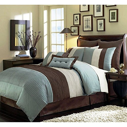 Chezmoi Collection 90 x 92-Inch 8-Piece Luxury Stripe Comforter Bed-in-a-Bag Set, Blue/Beige/Brown, Queen (Comforter Brown Set Bed)