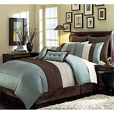 8 Pieces Beige, Blue and Brown Stripe Comforter (104 x92 ) Bed-in-a-bag Set King Size Bedding