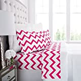 Prestige Linens 1800 Hotel Collection Chevron Pattern Bed Sheet Set - Deep Pockets, Wrinkle & Fade Resistant, Hypoallergenic Printed Sheet & Pillow Case Set - Twin - White/Light Gray