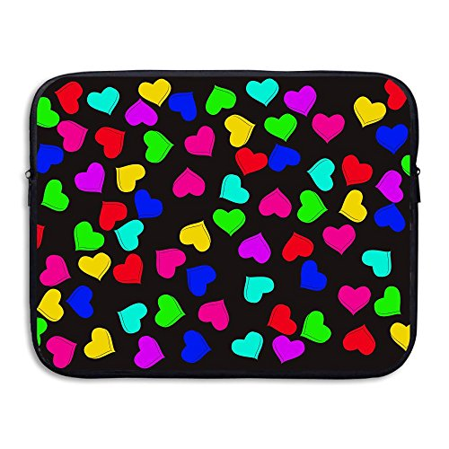 Business Briefcase Sleeve Colored Hearts Pattern Laptop Sleeve Case Cover Handbag For 13 Inch Macbook Pro / Macbook Air / Asus / Dell / Lenovo / Hp / Samsung / Sony
