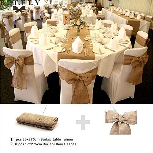 Bubble-Princess - Rustic theme Wedding Decoration supply contain Burlap Chair Sashes jute Tie Bow burlap table runner Burlap Lace Tableware Pouch -