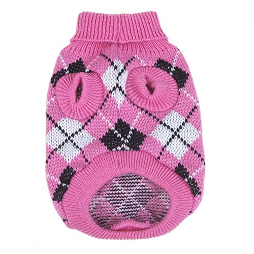 Product image of PanDaDa Small Pet Dog Plaid Style Sweater Knitwear Coat Apparel Dark Pink Small