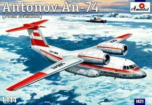 Amodel 1421-1/144 Antonov An-74 (Polar Aviation), Scale Plastic Model kit 1