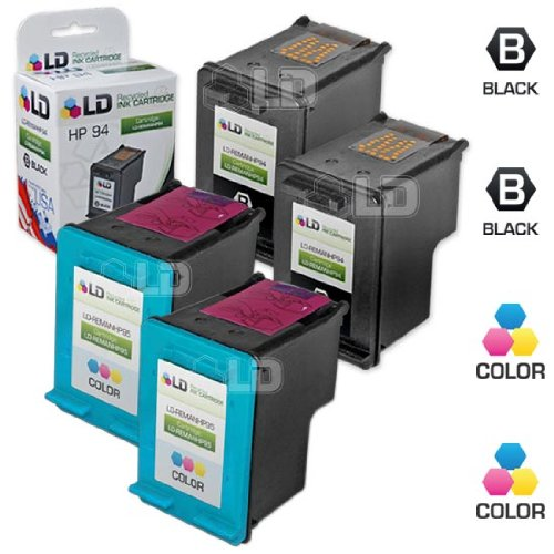 LD Remanufactured Replacements for HP 94 & 95 Set of 4 Ink Cartridges: 2 C8765WN Black & 2 C8766WN Color for use in DeskJet 460, 5740, 6520, OfficeJet 100, 6210, 7210, PhotoSmart 2605, 2610, PSC 1600 -