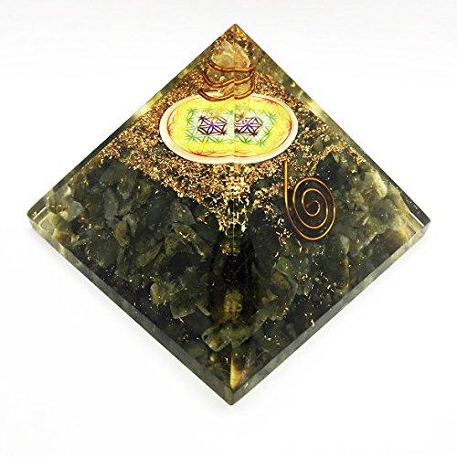 8,9/cm Crocon labradorite Cristal Orgonite Pyramide avec fleur de vie Symbole et point de cristal pour Gu/érison Reiki Chakra Balancing Taille 3