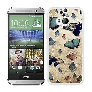 Funda carcasa para HTC One M8 diseño estampado vintage mariposas borde blanco