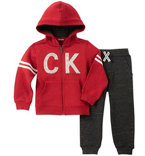Calvin Klein Baby Boys 2 Pieces Jog Set, red, 18M (Calvin Klein Jacket Boys)