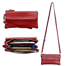 Belfen Leather Wristlet Wallet Clutch Women Smartphone Cross Body Wallet with Card slots/Shoulder strap/Wrist Strap -for Cellphone Up to 6.1 x 3*0.3 Inch- Jester Red
