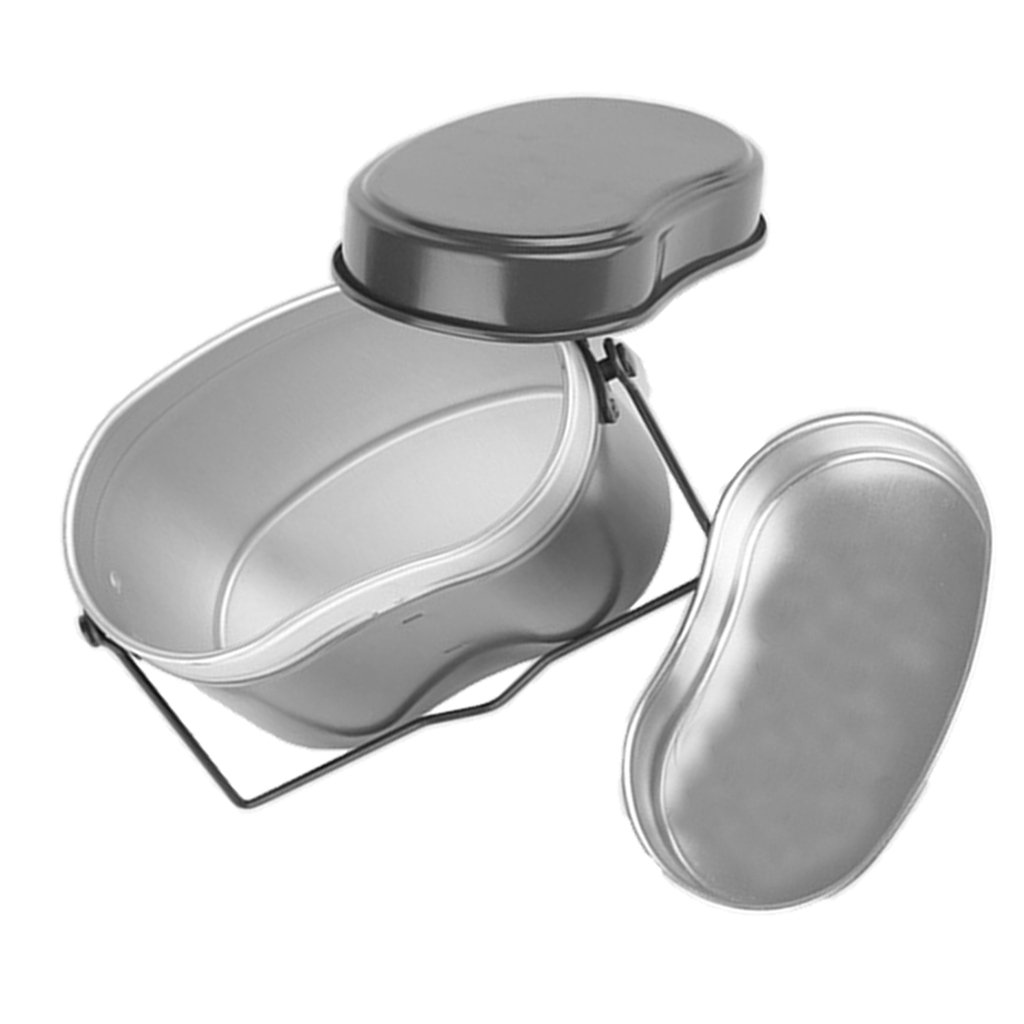 MagiDeal Lightweight Camping Picnic Army Mess Kit Lunch Box Canteen Kettle Pot Food Cup Bowl