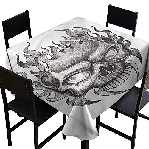 haommhome Oil-Proof and Leak-Proof Tablecloth Tattoo Horror Themed Skull Figure Excellent Durability W60 xL60 Indoor Outdoor Camping Picnic]()