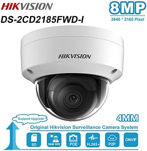 8MP 4K PoE IP Camera, DS-2CD2185FWD-I 4mm, 8 Megapixel PoE Dome Security Camera with Micro SD Card Slot, IP67 Weatherproof ONVIF Camera, 8MP Onvif Compatible Video Surveillance Dome Camera