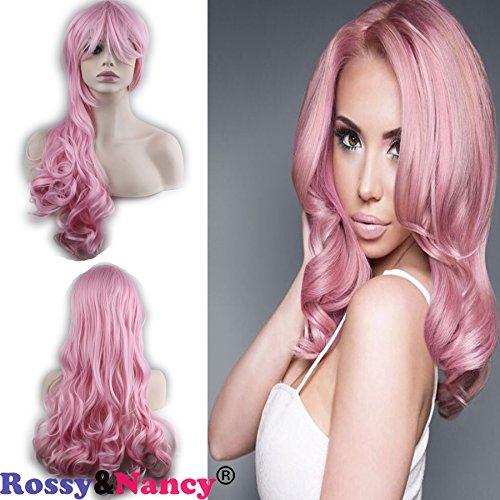 Rossy&Nancy Halloween Heat Resistant Big Wavy Hair Women Cosplay Wig with Bangs Pink Color Wigs with Baby Hair (Halloween Fancy Nancy)