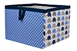 Bacati Elephants Storage Tote Basket, Blue/Grey, Large
