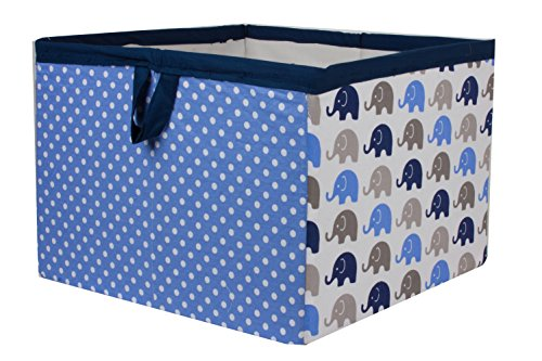 Bacati Elephants Storage Tote Basket, Blue/Grey, Large from Bacati