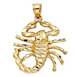 Scorpion King Pendant Solid 14k Yellow Gold Zodiac Sign Scorpio Charm Hip Hop Style Fancy 28 x 29 mm