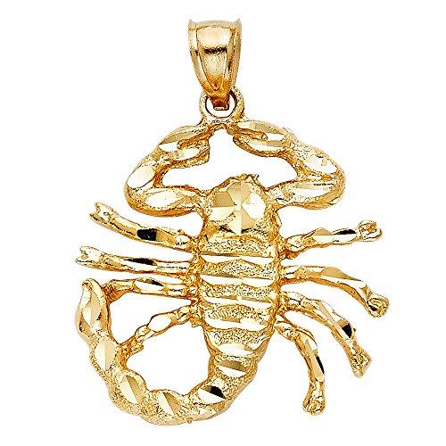 Scorpion King Pendant Solid 14k Yellow Gold Zodiac Sign Scorpio Charm Hip Hop Style Fancy 28 x 29 mm by ZenJewels