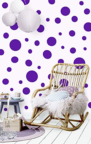 Create-A-Mural (63 Purple Wall Dot Decals ~Vinyl Polka Dot Wall Stickers