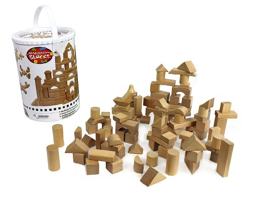 - Wooden Blocks - 100 Pc Wood Building Block Set with Carrying Bag and Container (Natural Colored) - 100% Real Wood