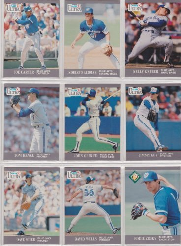 Toronto Blue Jays 1991 Fleer Ultra Baseball Team Set (Roberto Alomar) (Joe Carter) (Kelly Gruber) (Pat Borders) (Jimmy Key) (John Olerud) (David Wells) (Dave Stieb) (Tom Henke) (Manny Lee)