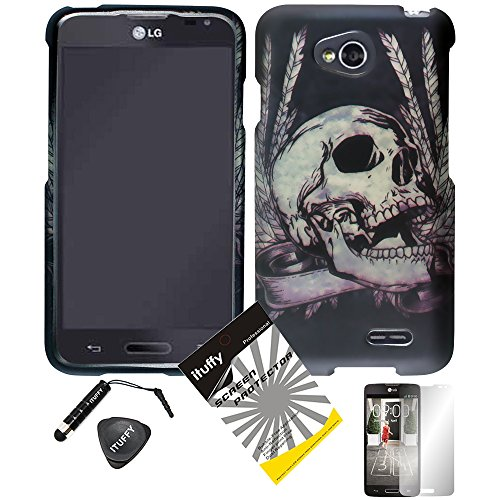 4 items Combo: ITUFFY (TM) LCD Screen Protector Film + Mini Stylus Pen + Case Opener + Black Silver Viking Skull Design Rubberized Snap on Hard Shell Cover Faceplate Skin Phone Case for Android Smart Phone LG Optimus L90 / LG D415 (T-Mobile) (Champion Skull)
