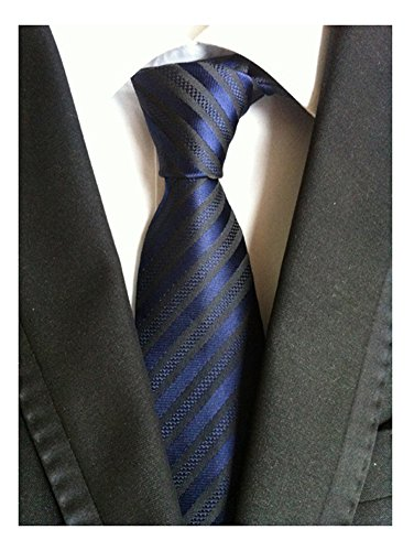 Navy Blue Gray Pinstripe (Secdtie Men Stripe Navy Blue Black Jacquard Woven Silk Tie Formal Necktie TW015)