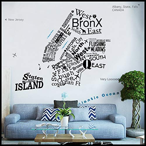 AmericanVinyl Wall Decals Sticker NYC - Wall Decal 5 Borough Map in Words - Icons - Letters New York Free one Way Sign Decal (Best Borough In Nyc)