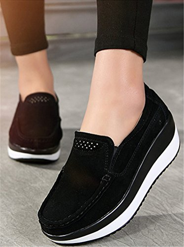 Platform Shoes Women, Wedges Mid-Heel Leather Casual Work Loafer Shoes 5 Colors Size 5.5-8.5 Black