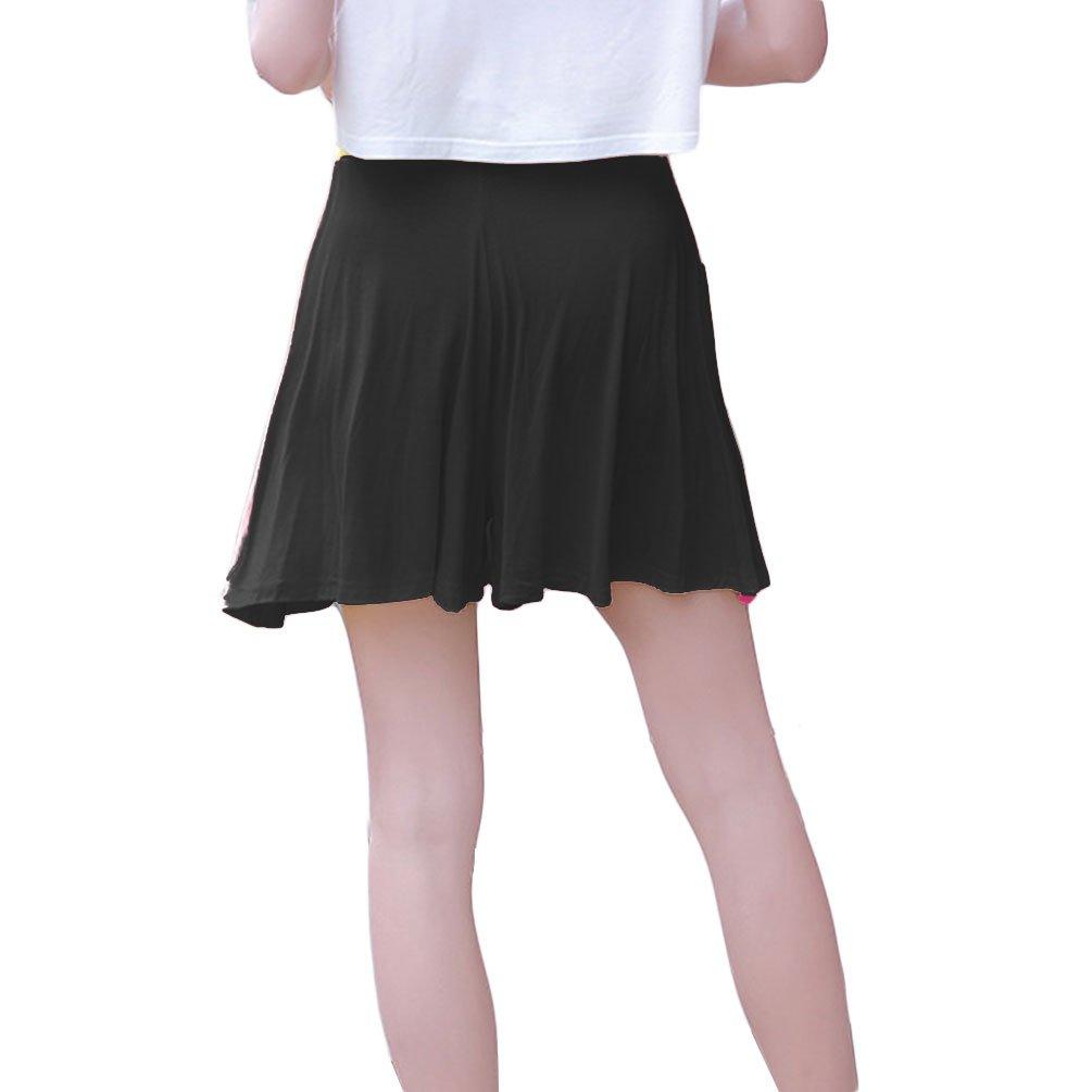 PT&Key Women's Easy Shorts Elastic Waist Culottes Comfortable Relax Wear (Black)