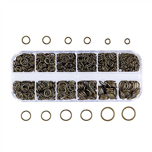 Pandahall Mixed Size 4-10mm Iron Open Jump Rings Nickel Free Antique Bronze Plated Unsoldered Round Ring Connectors for Chainmail Jewelry Bracelet Necklace Making (Open 5mm Ring)