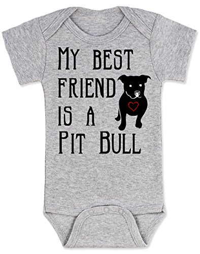 Vulgar Baby Bodysuit, My Best Friend is a Pit Bull , 3-6 MO, Heather Grey
