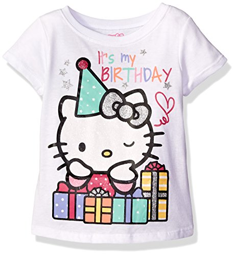 Hello Kitty Little Girls Toddler Happy Birthday T-Shirt, Bright White, 4T