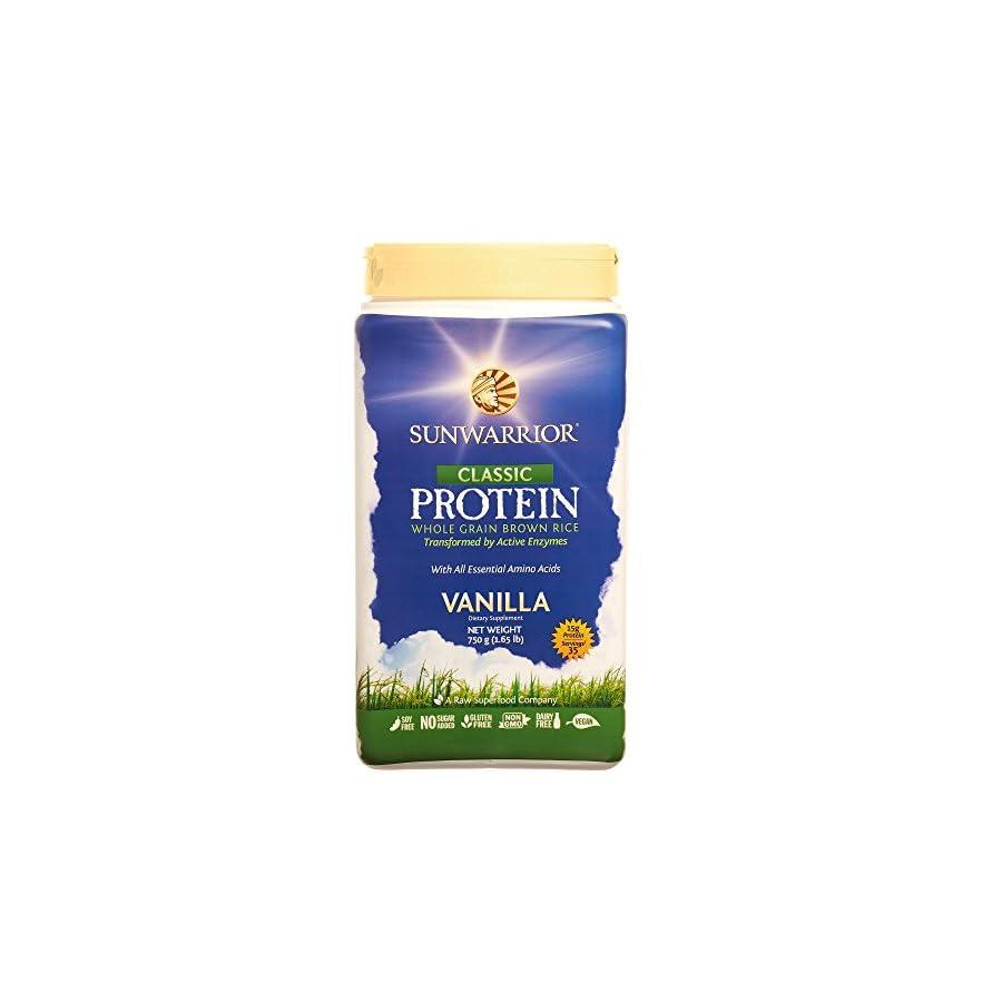 Sunwarrior Classic Protein, Raw, Plant Based, Wholegrain Brown Rice Vegan Protein Powder, Vanilla, 35 Servings