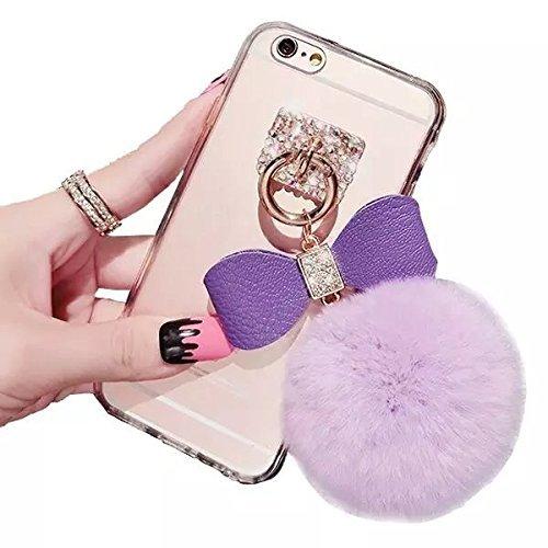 Vandot Funda para iPhone 5C Cáscara de dura PC Diseño de Pelo de Conejo 3D Bola de Pompón Esponjoso Teléfono Móvil Bling Crystal Ultra Slim Delgado Cubierta Estuche Caja Transparente Bumper Protectora Pelota Purple