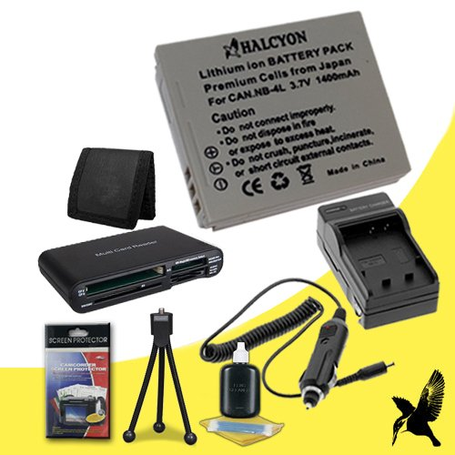 Halcyon 1400 mAH Lithium Ion Replacement NB-2LH Battery and Charger Kit + Memory Card Wallet + SDHC Card USB Reader + Deluxe Starter Kit for Canon PowerShot Elph 100 HS, 300 HS, 310HS, SD1000, SD1100 IS, SD1400 IS, SD200, SD300, SD40, SD400, SD430, SD450,