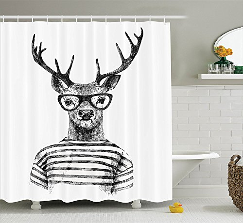 [Deer Decor Collection Dressed Up Deer Reindeer Headed Human Hipster Style with Glasses Striped Shirt Design Polyester Fabric Bathroom Shower Curtain Black] (Animals Dressed Up In Halloween Costumes)