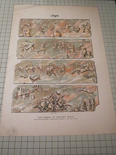 1895 Lithograph of The Games of Ancient Rome - Baseball, Golf, Polo, Football - 19th Century Sports Satire
