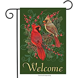 "Briarwood Lane Cardinals and Pine Winter Garden Flag Welcome Pinecones Berries 12.5"" x 18"""