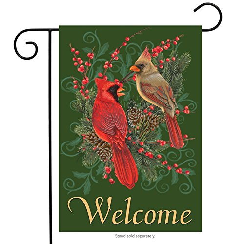 """Briarwood Lane Cardinals and Pine Winter Garden Flag Welcome Pinecones Berries 12.5"""" x 18"""""""