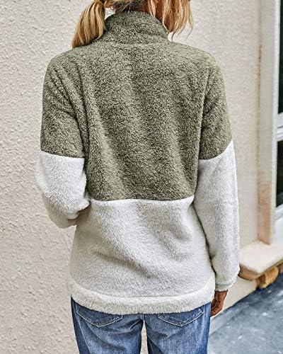 BTFBM Womens Sherpa Pullover Quarter Zip Long Sleeve Fluffy Soft Fleece Jackets Sweaters Sweatshirts Hoodies Outwear Coat