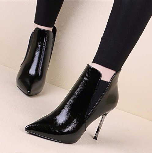 Shoes 38 Boots Tip And The New Thin Black Painted Plus Autumn Leather With 10Cm KHSKX Boots Female Bare Heeled Stretch Winter Martin Velvet Wild High Boots 47HpzqdwW