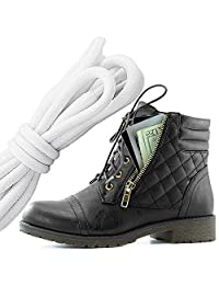 DailyShoes Women's Military Lace Up Buckle Combat Boots Ankle High Exclusive Credit Card Pocket, White Black