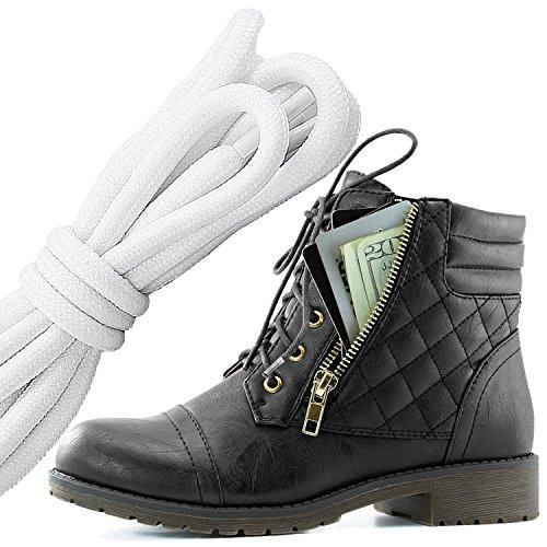 Dailyshoes Donna Militare Allacciatura Fibbia Stivali Da Combattimento Caviglia Alta Esclusiva Tasca Per Carte Di Credito, Bianco Nero Nero Pu