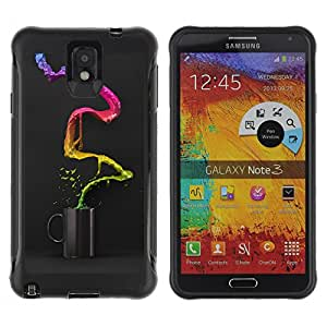 Hybrid Anti-Shock Defend Case for Samsung Galaxy Note 3 / Cool Colorful Coffee Waterfall