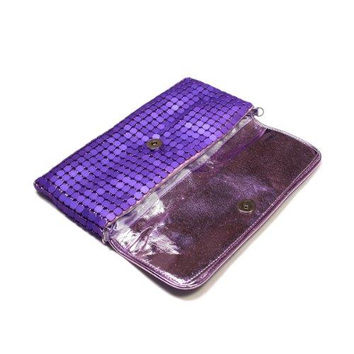 Evening Diff Colors Bag Purple Lightweight Metal Mesh Chic Avail Clutch Flap wq0XS8q